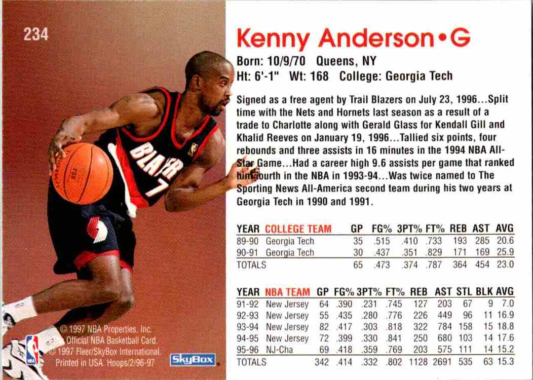 1997-98 NBA Hoops Kenny Anderson #234 card back image