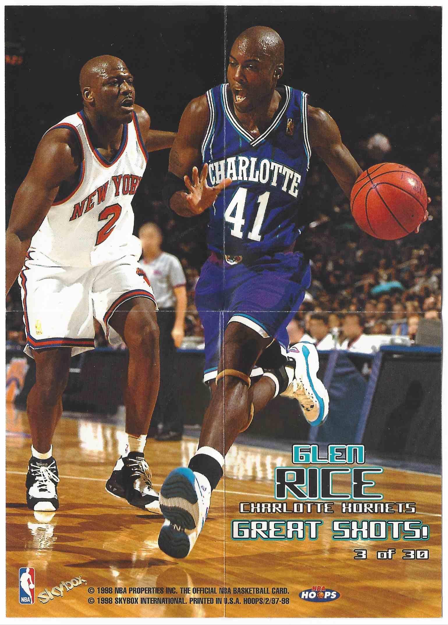 1997 98 Nba Hoops Great Shots Mini Posters Glen Rice 3