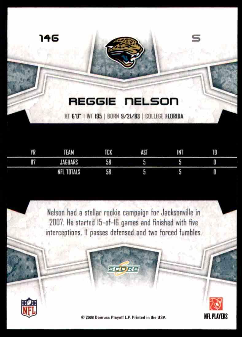 2008 Score Reggie Nelson #146 card back image