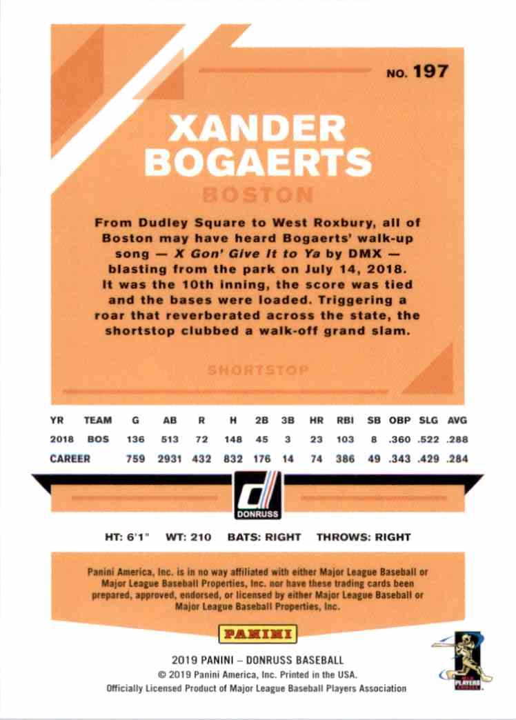 2019 Donruss Xander Bogaerts #197 card back image