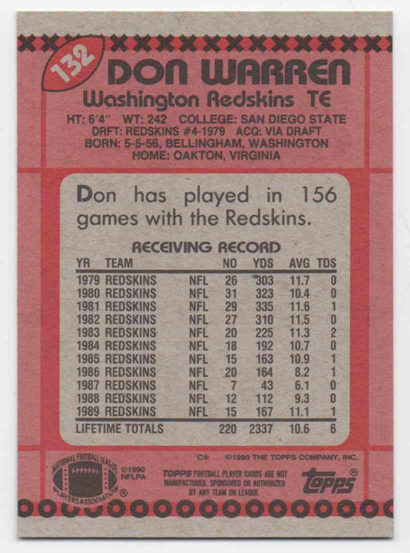 1990 Topps Don Warren #132 card back image