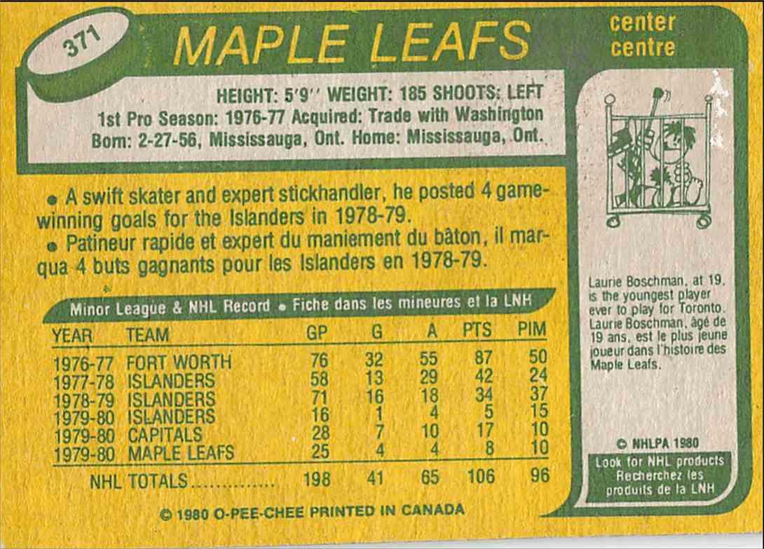 1980-81 O-Pee-Chee Mike Kaszycki #371 card back image