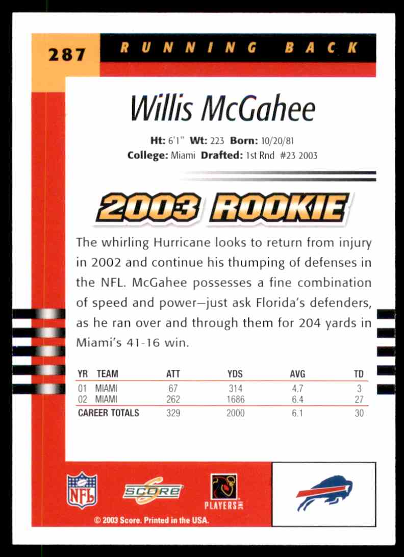 2003 Score Willis McGahee RC #287 card back image