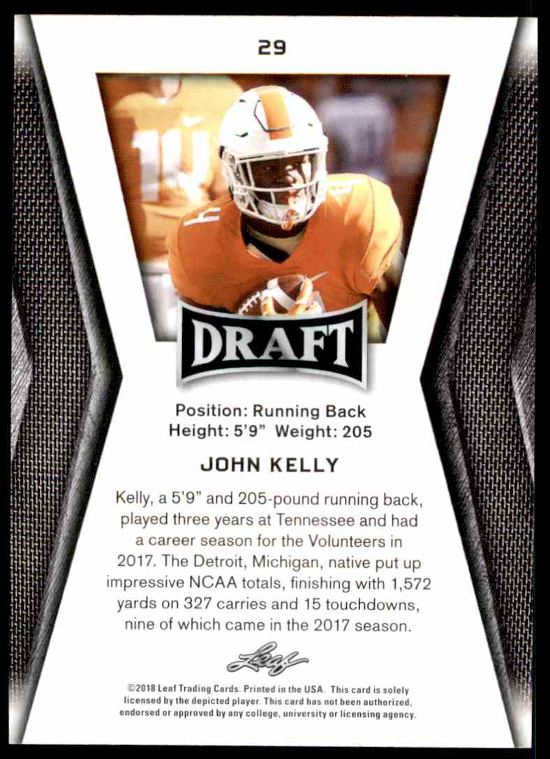 2018 Leaf Draft John Kelly #29 card back image