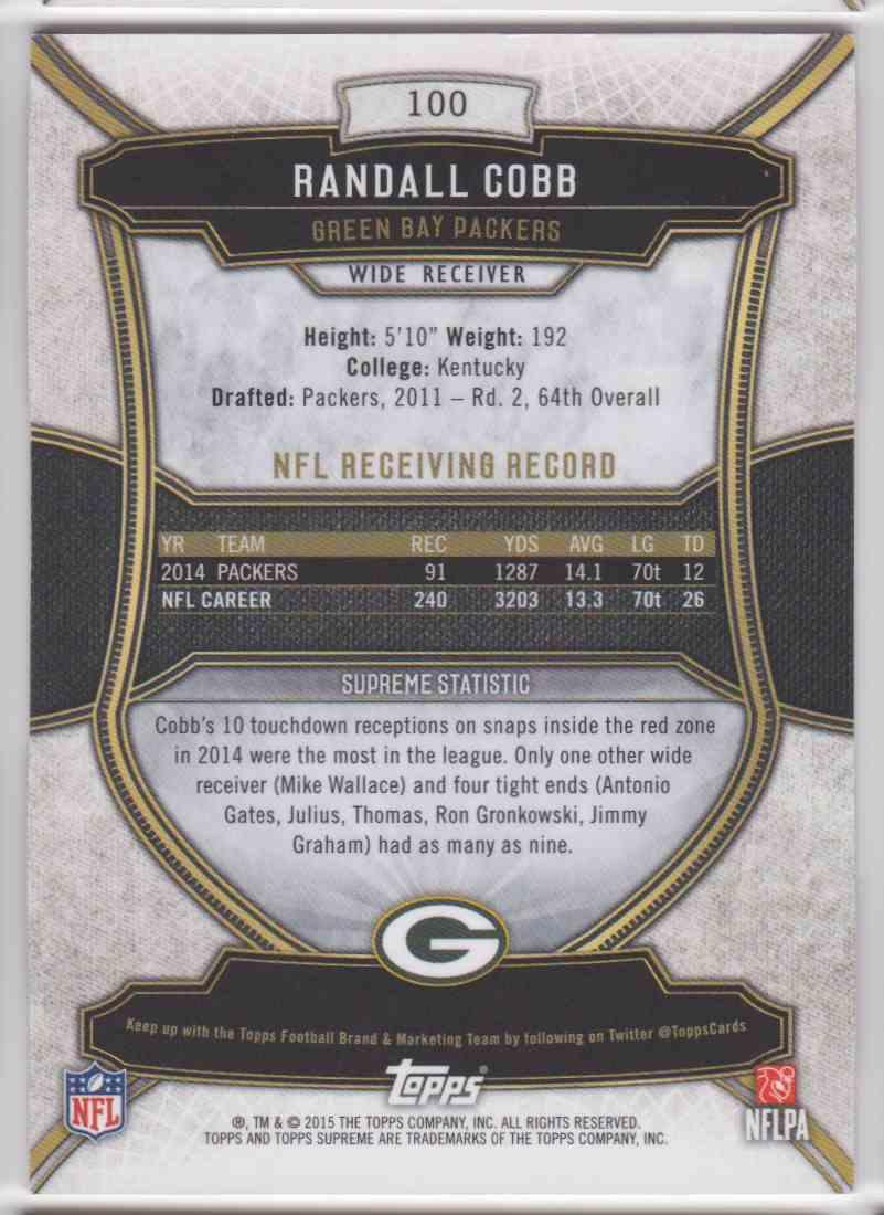 2015 Topps Supreme Violet Randall Cobb #100 card back image