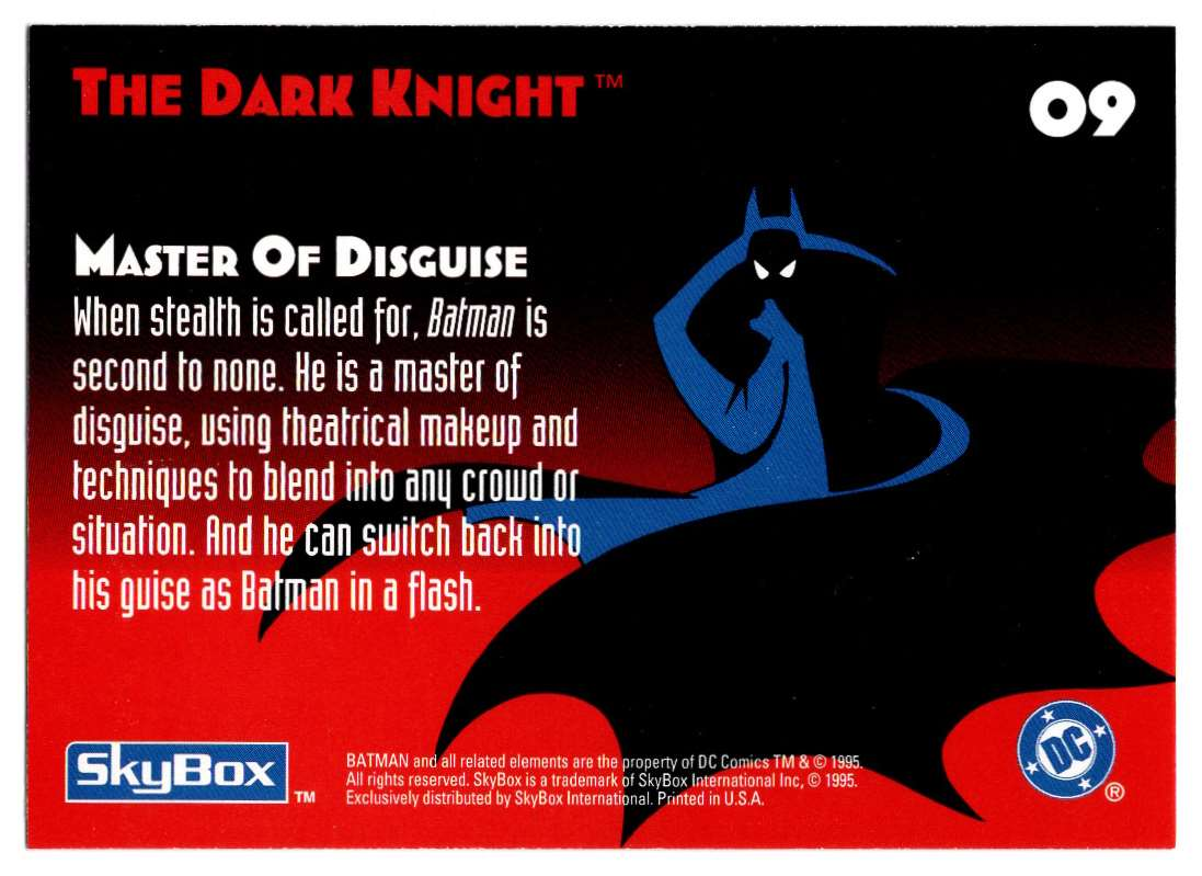 1995 Skybox Adventures Of Batman And Robin Master Of Disguise #9 card back image