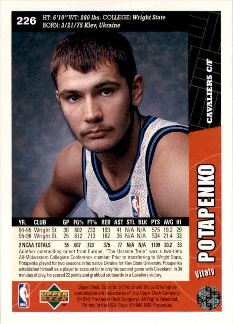 1996-97 Collector's Choice Vitaly Potapenko #226 card back image