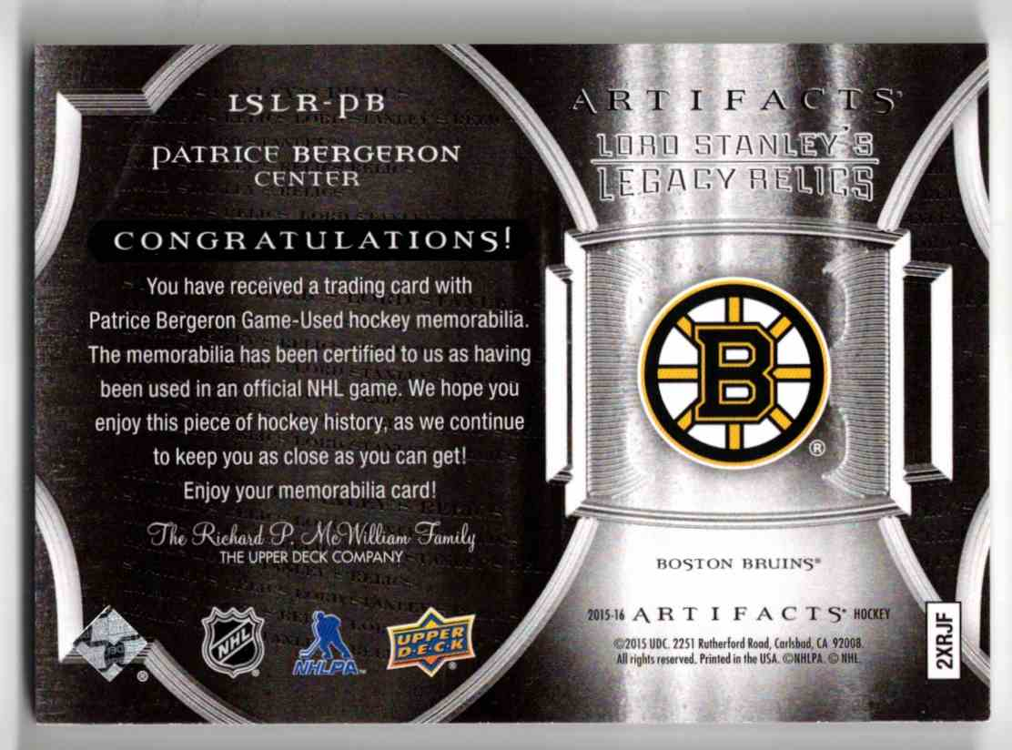 2015-16 Upper Deck Artifacts Lord Stanley's Legacy Relics Gold Patrice Bergeron #LSLR-PB card back image