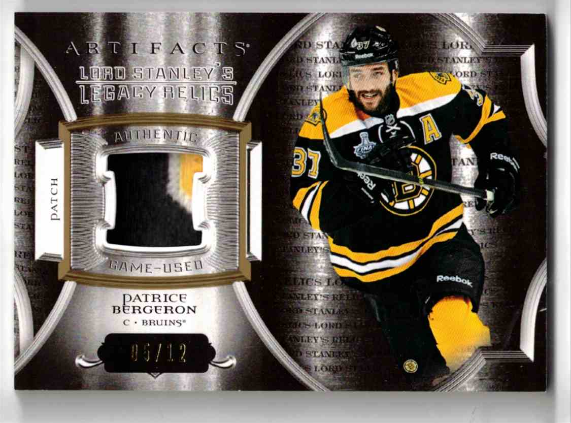2015-16 Upper Deck Artifacts Lord Stanley's Legacy Relics Gold Patrice Bergeron #LSLR-PB card front image