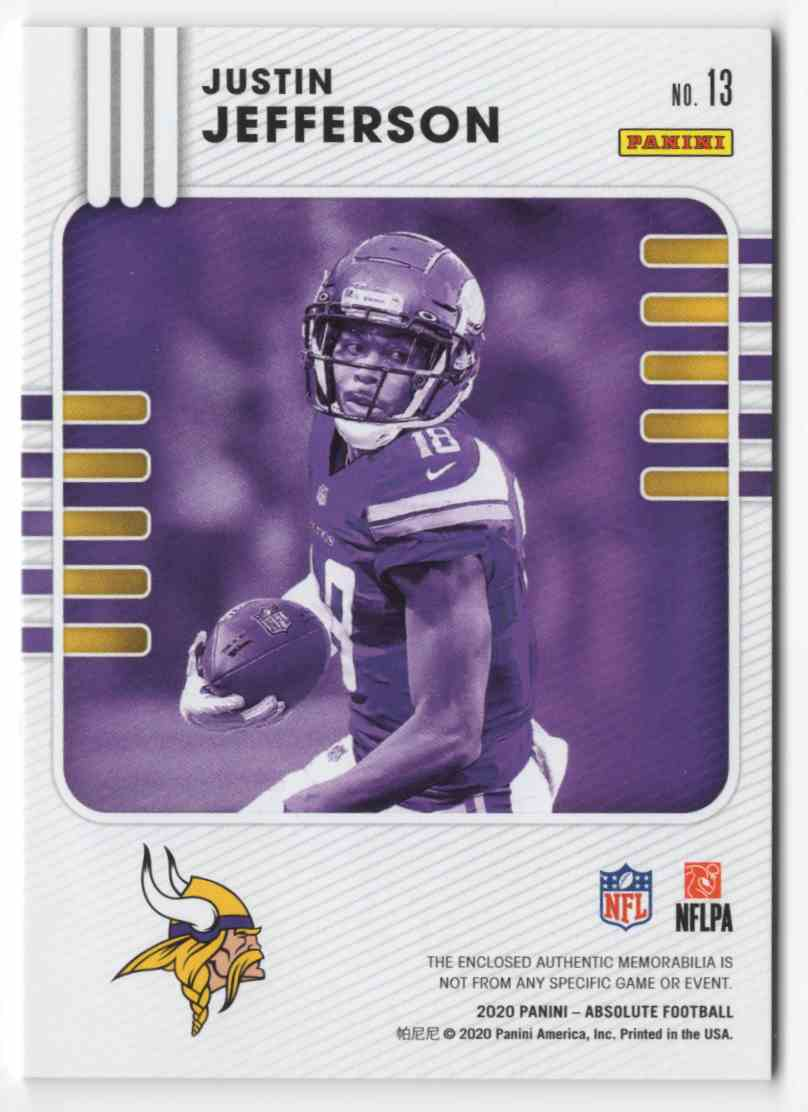 2020 Absolute Absolute Rookie Materials Justin Jefferson #13 card back image