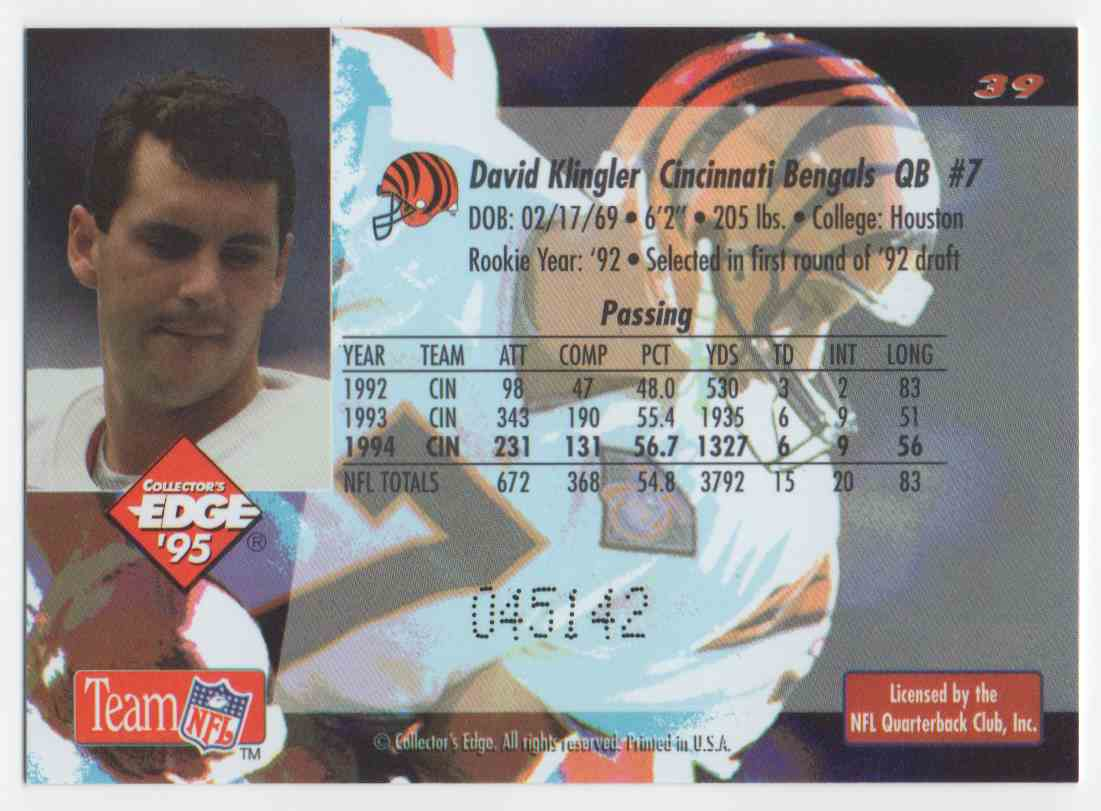 1995 Collectors Edge Black Label David Klingler #39 card back image
