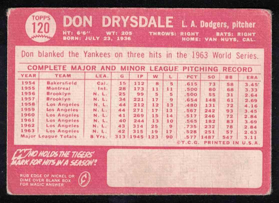 1964 Topps Don Drysdale VG #120 card back image