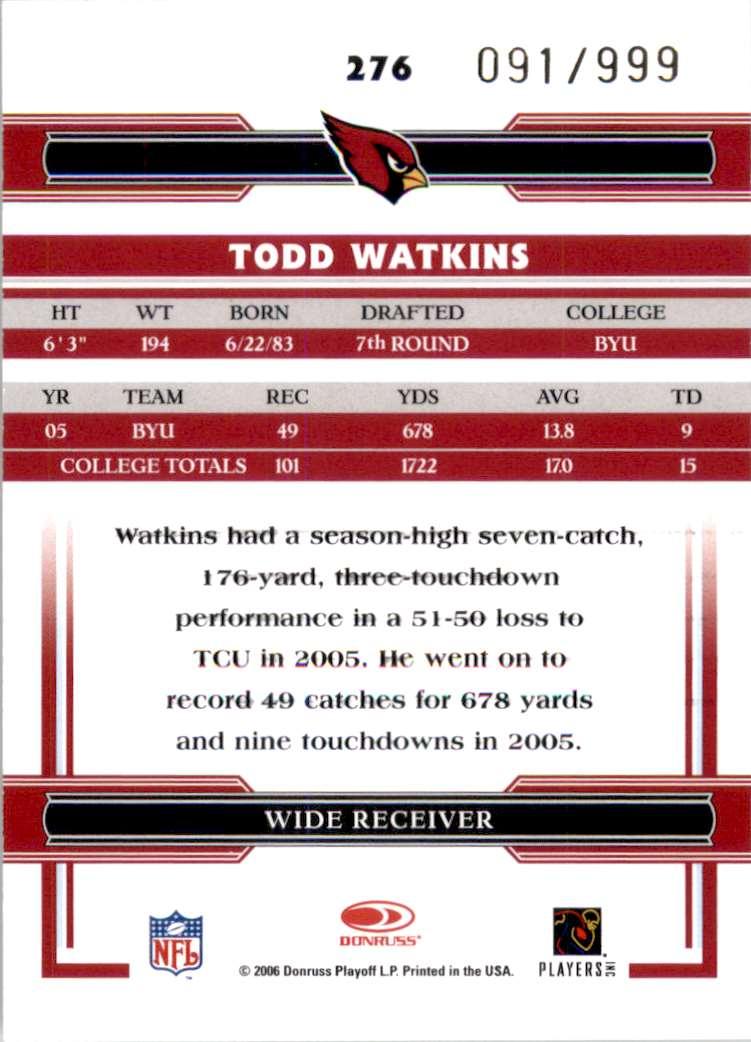 2006 Donruss Threads Todd Watkins Au RC #276 card back image