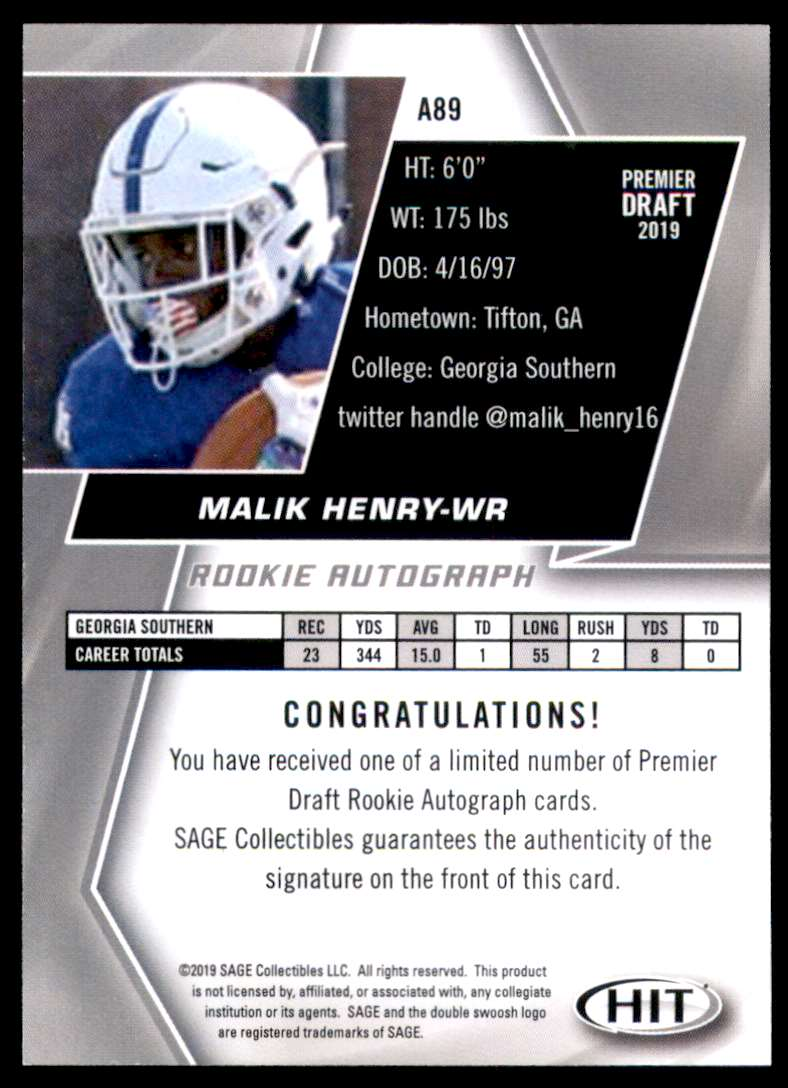 2019 Sage Hit Autographs Black Malik Henry #A89 card back image