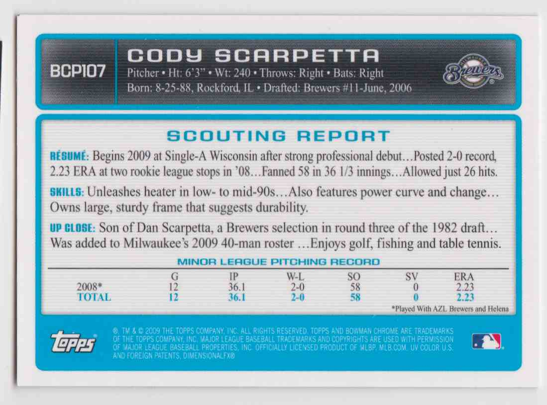 2009 Bowman Chrome Autographs Cody Scarpetta #BCP107 card back image