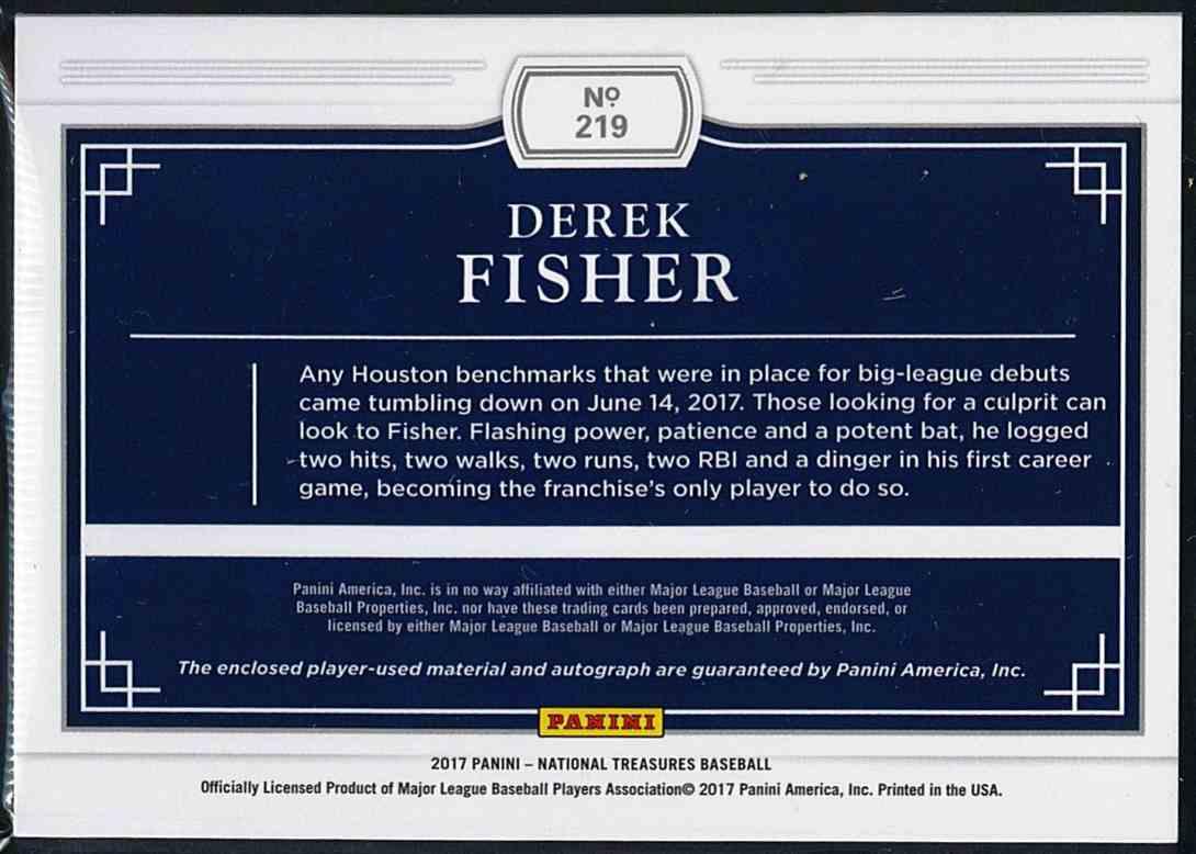 2017 Panini National Treasures Derek Fisher #219 card back image