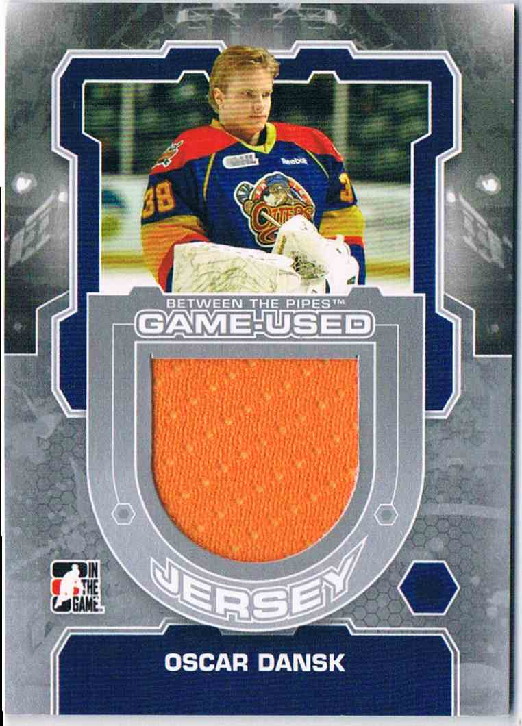 2012-13 In The Game Between The Pipes Oscar Dansk #M-17 card front image