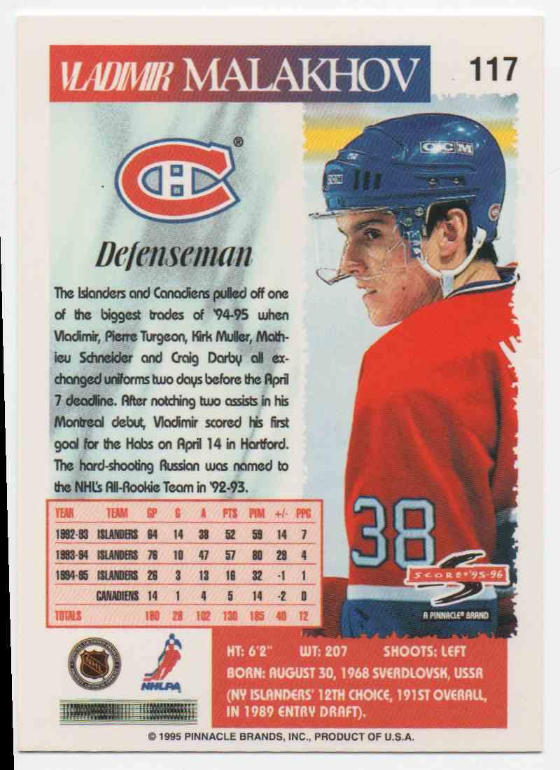 1995-96 Score Vladimir Malakhov #117 card back image