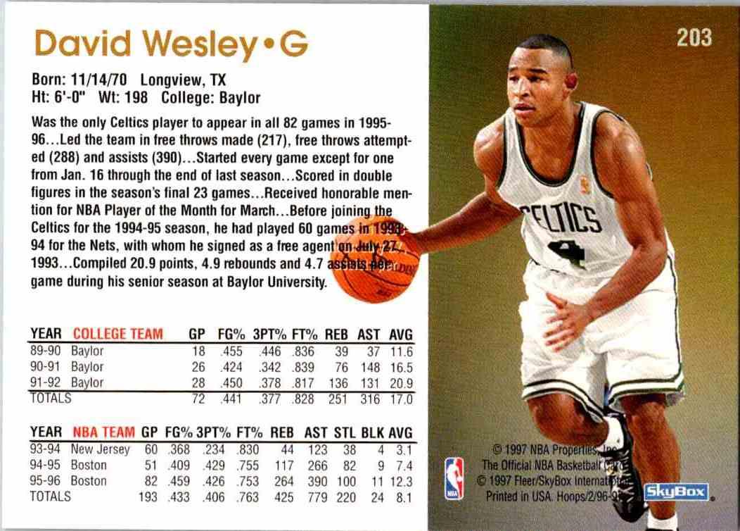 1997-98 NBA Hoops David Wesley #203 card back image
