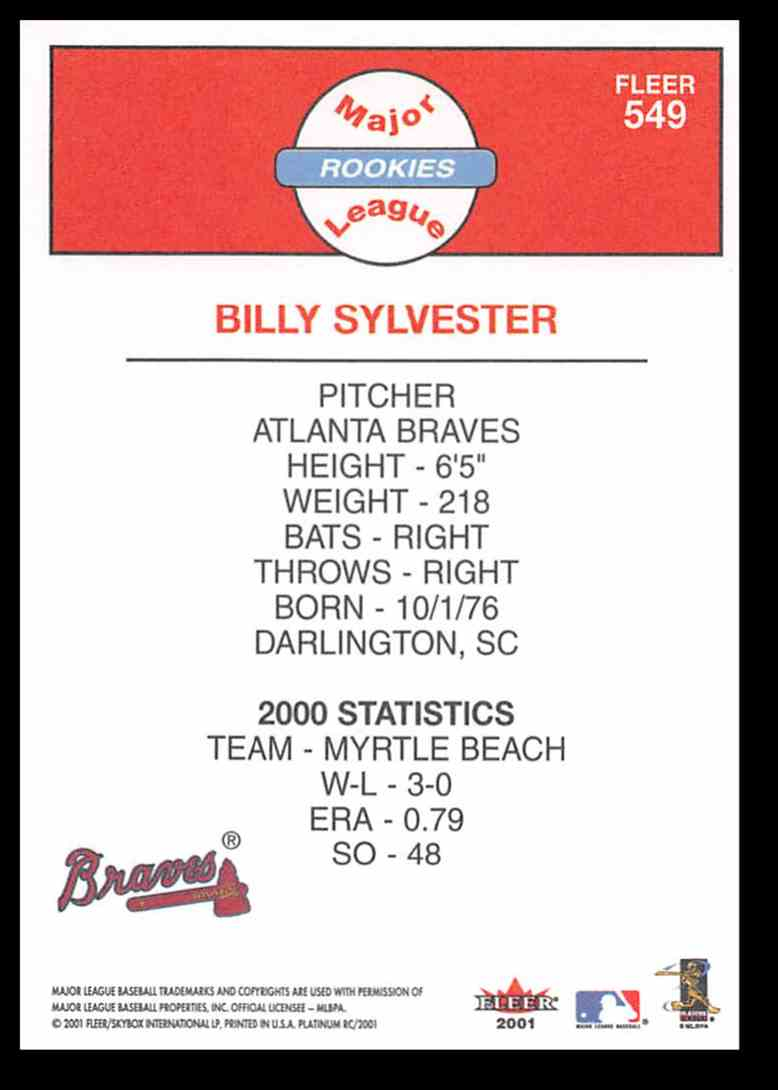 2001 Fleer Platinum Billy Sylvester #549 card back image