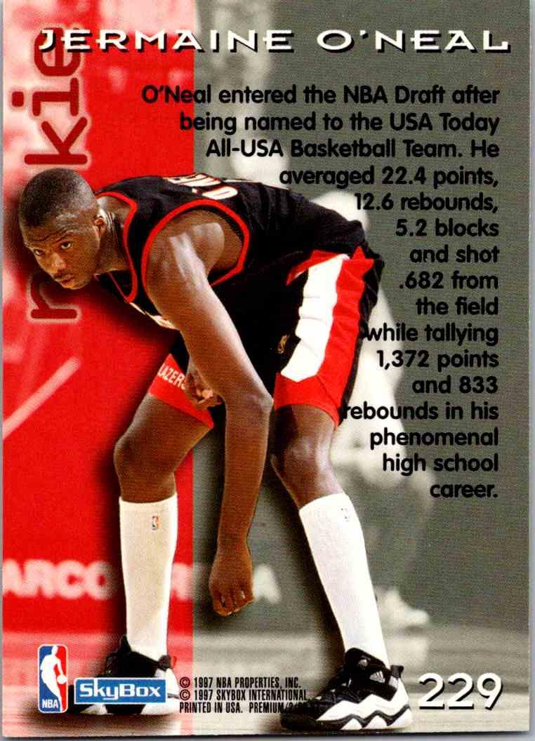 1997-98 Skybox Premium Jermaine O'Neal #229 card back image