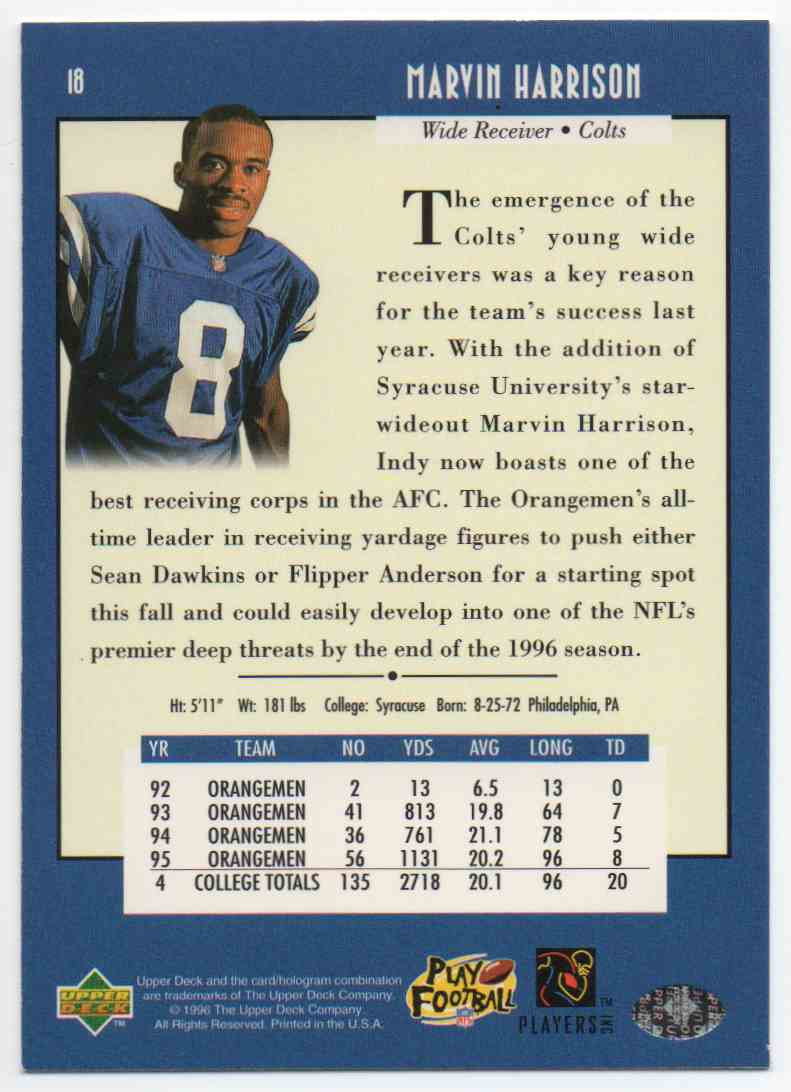 1996 Upper Deck Marvin Harrison #18 card back image