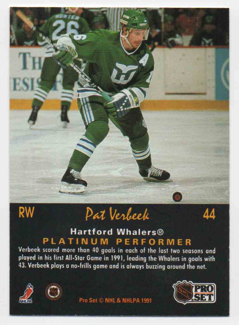 1991-92 Pro Set Platinum Pat Verbeek #44 card back image