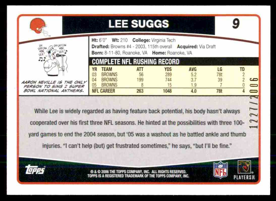 2006 Topps Gold Lee Suggs #9 card back image