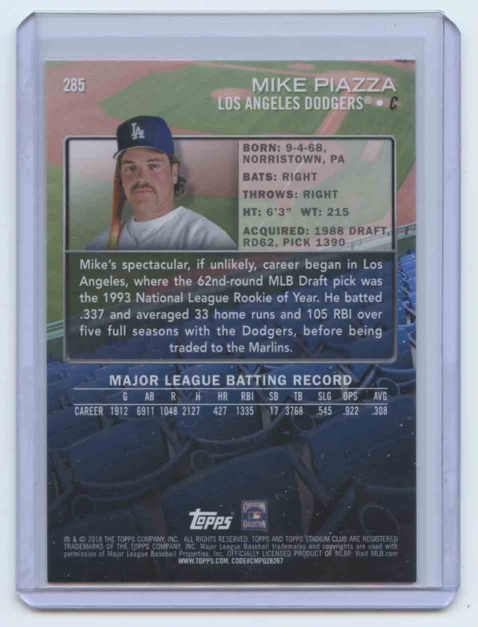 2018 Stadium Club Variation Mike Piazza Los Angeles Dodgers 285