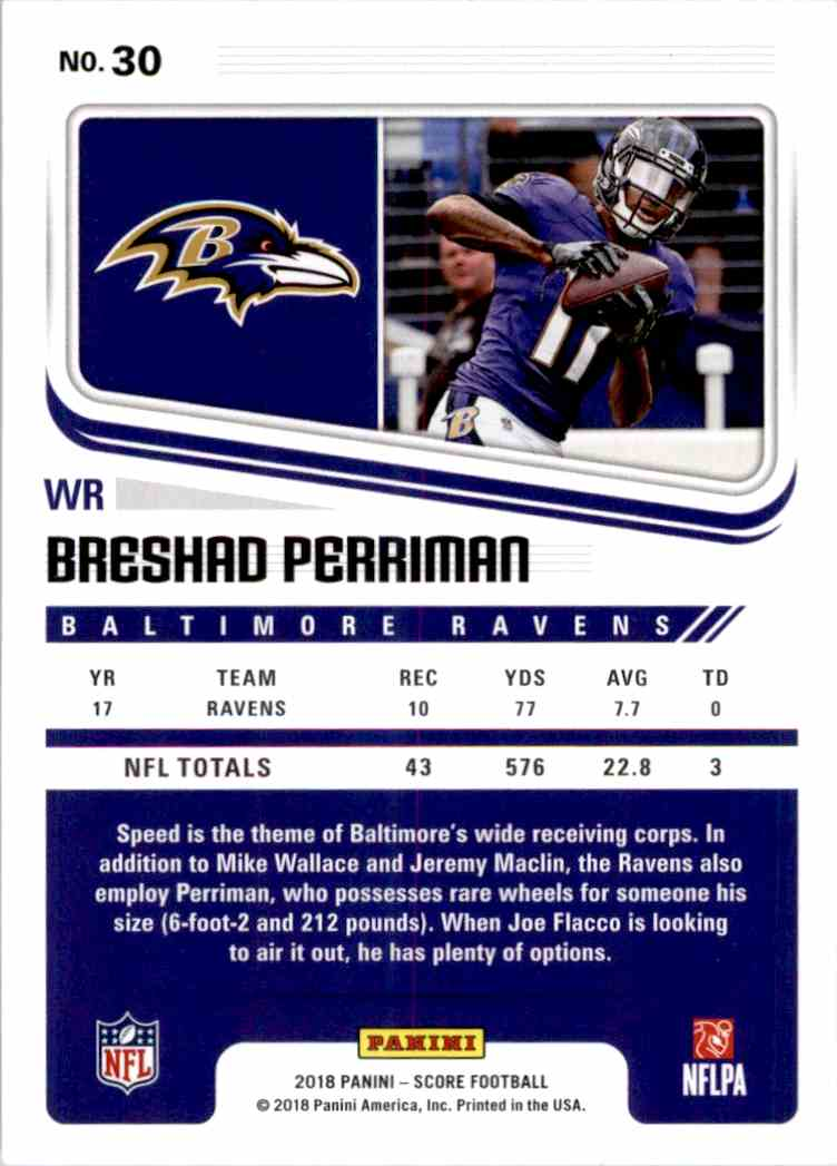 2018 Panini Score Breshad Perriman #30 card back image