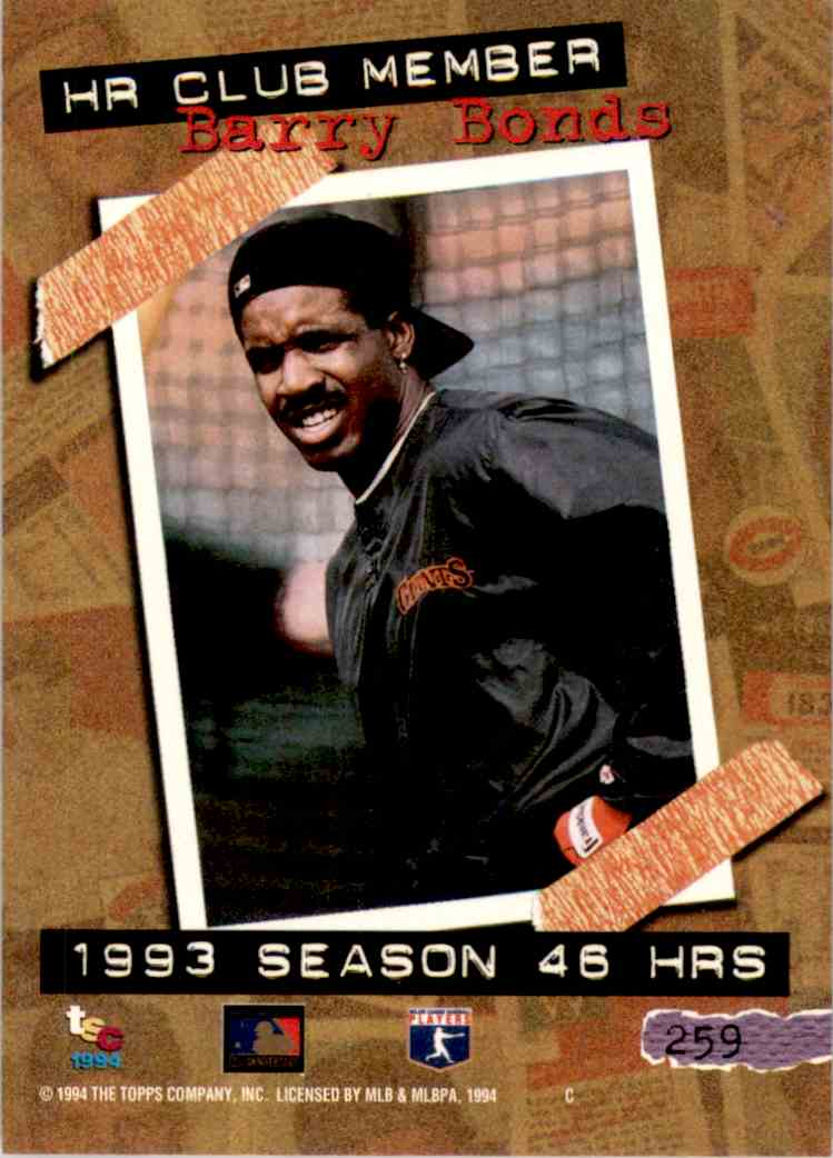 1994 Stadium Club Barry Bonds Hr #259 card back image