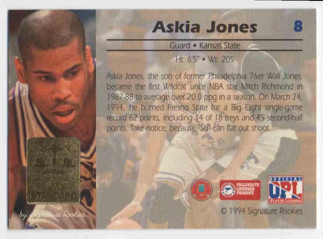 1994-95 Signature Rookies Gold Standard Askia Jones #8 card back image