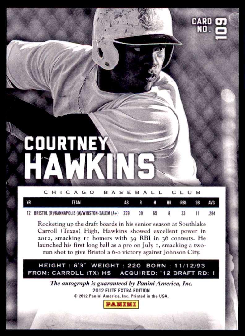 2012 Elite Extra Edition [Base] Courtney Hawkins #109 card back image
