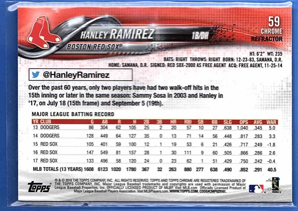 2018 Topps Chrome Sepia Refractors Hanley Ramirez #59 card back image