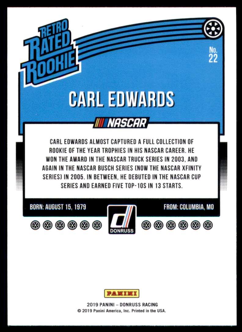 2019 Donruss Carl Edwards #22 card back image