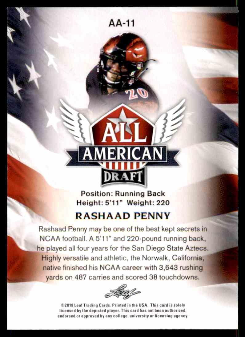 2018 Leaf Draft Rashaad Penny #AA-11 card back image