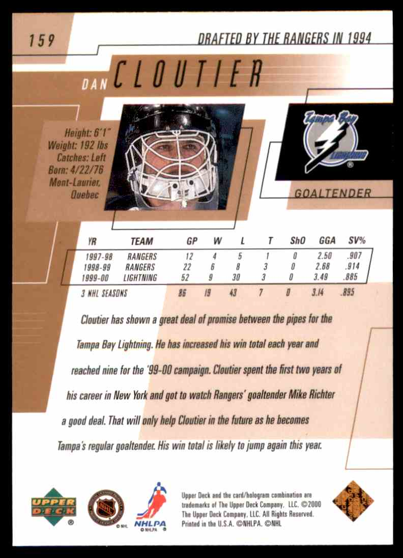 2000-01 Upper Deck Dan Cloutier #159 card back image