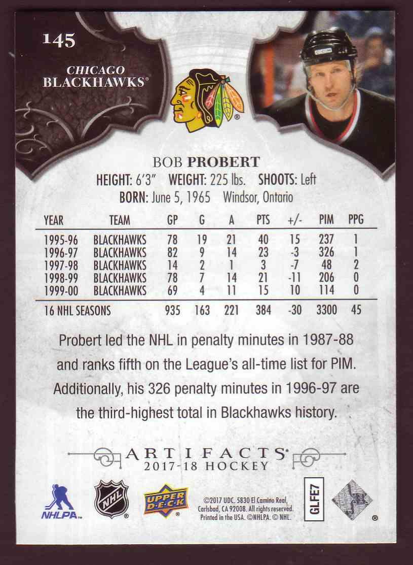 Real card back image 2017-18 Upper Deck Artifacts Legends Bob Probert  145  card back image 4e577b122