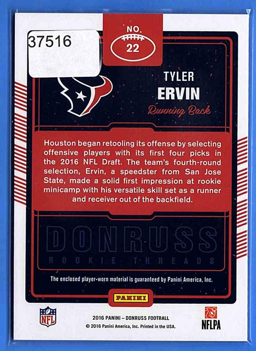 2016 Donruss Rookie Threads Tyler Ervin #22 card back image