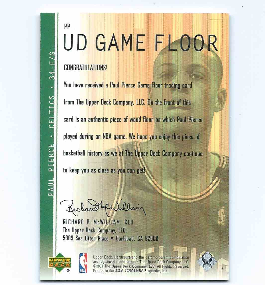 2001-02 Upper Deck Hardcourt UD Game Floor Paul Pierce #PP card back image