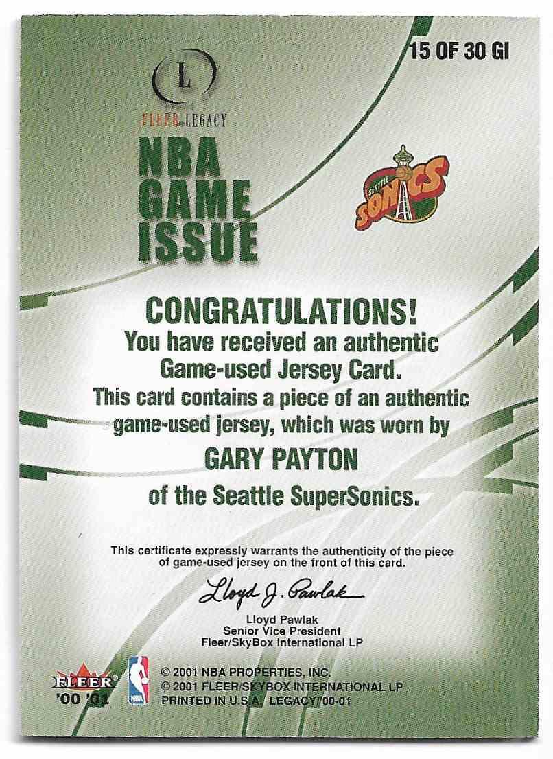 2000-01 Fleer Legacy Gary Payton #15 GI card back image