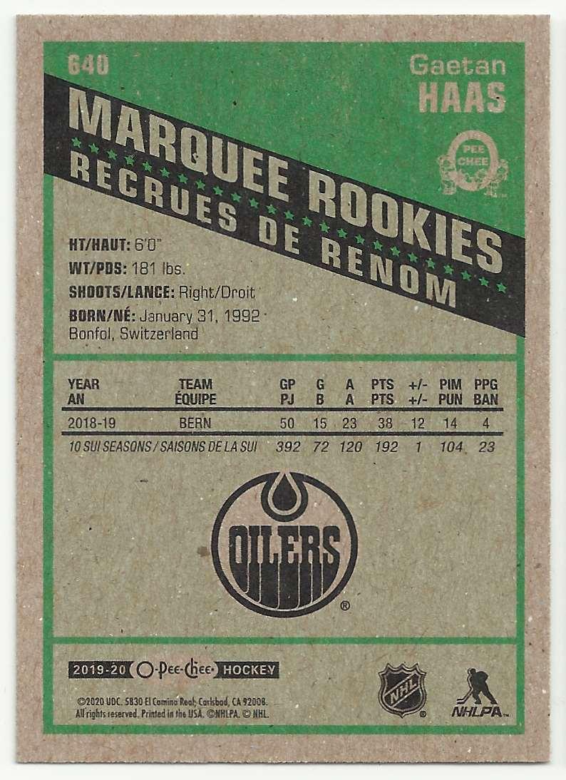2019-20 O-Pee-Chee Retro Gaetan Haas #640 card back image