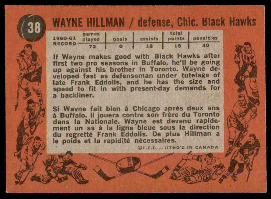 1961-62 Topps Wayne Hillman #38 card back image