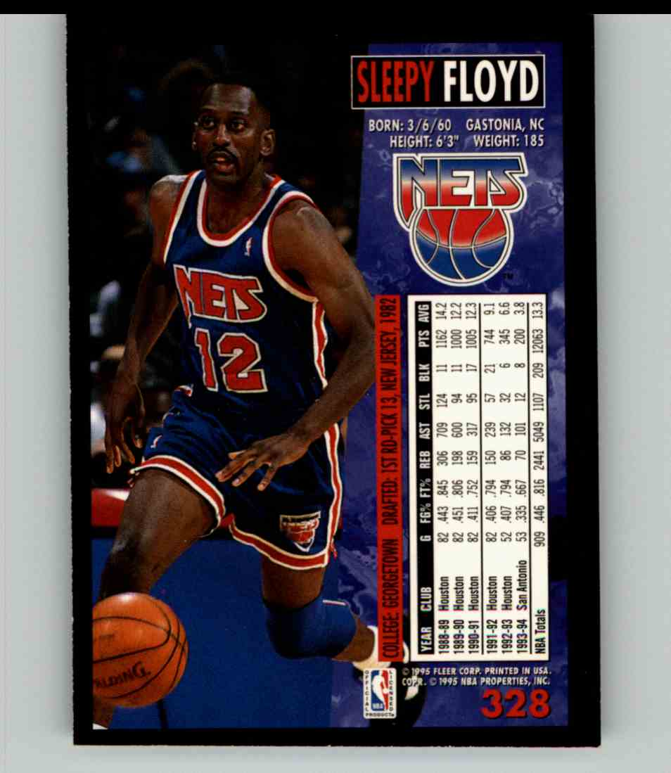 1994-95 Fleer Sleepy Floyd #328 card back image