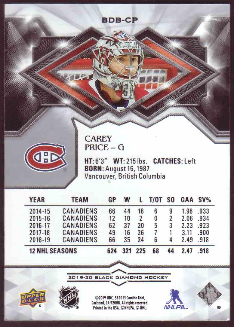 2019-20 Black Diamond Carey Price #BDB-CP card back image