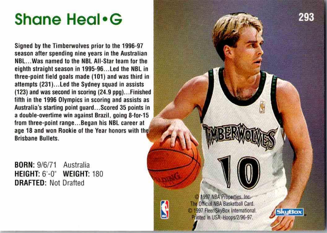 1997-98 NBA Hoops Shane Heal #293 card back image