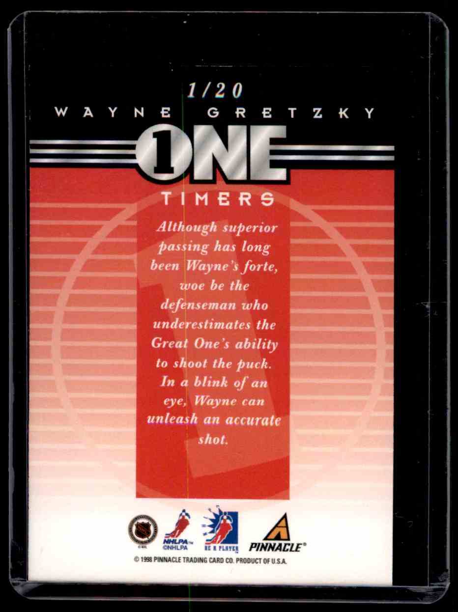 1997-98 Be A Player One Timers Wayne Gretzky #1 card back image