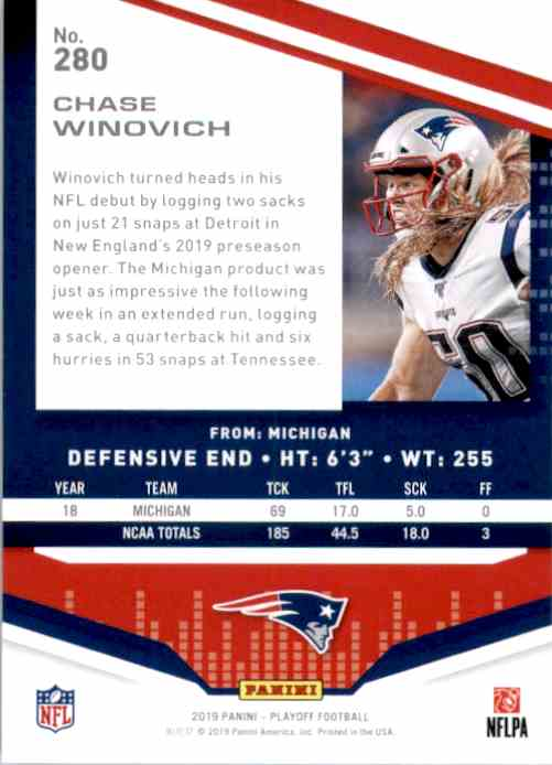 2019 Playoff Chase Winovich RC #280 card back image
