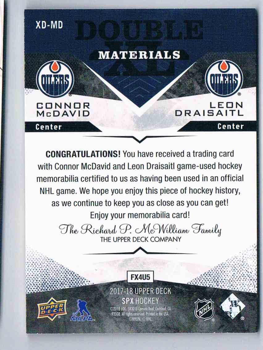 2017-18 Spx Double XL Materials Connor McDavid Leon Draisaitl #XD-MD card back image