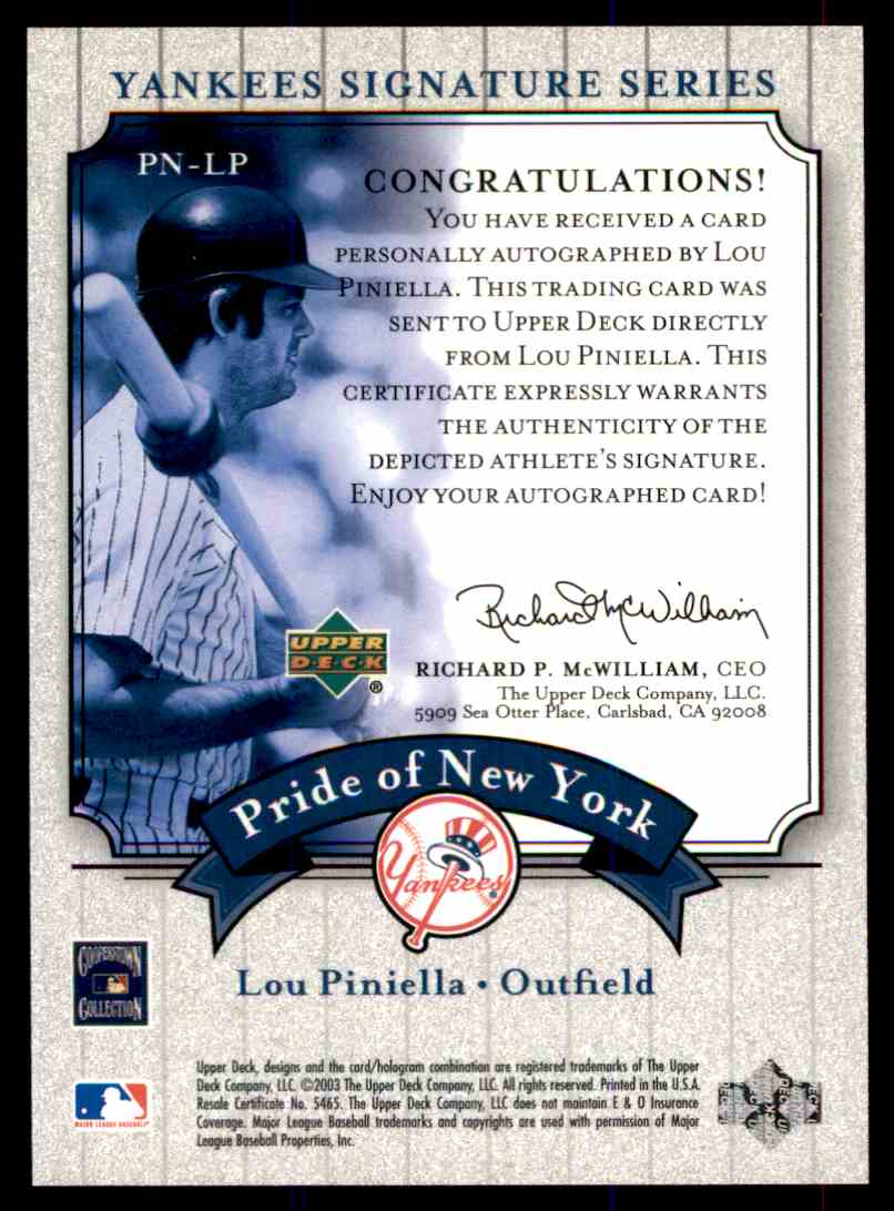 2003 Upper Deck Yankees Siganture Series Lou Piniella card back image